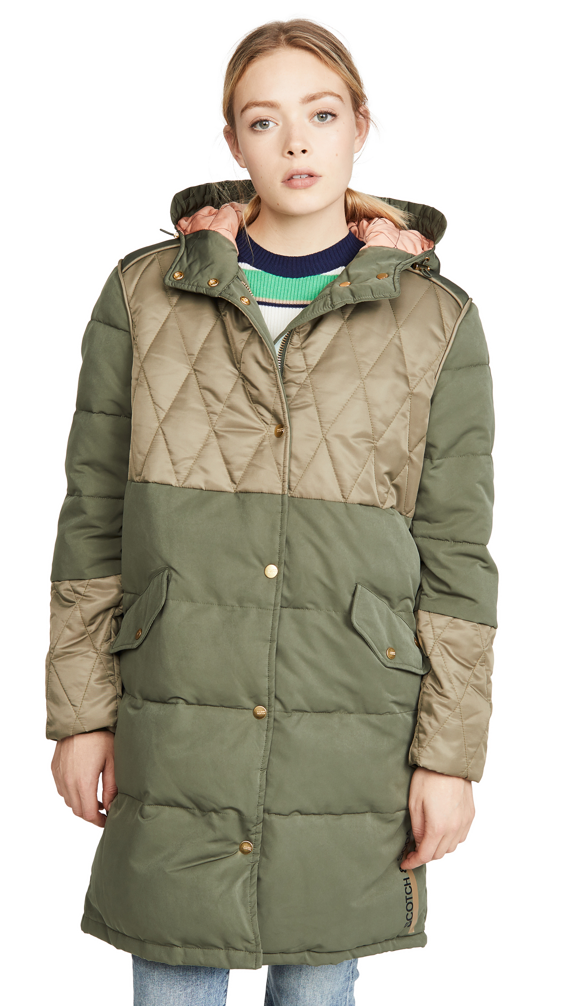Buy Scotch & Soda/Maison Scotch online - photo of Scotch & Soda/Maison Scotch Mixed Fabric Parka Jacket