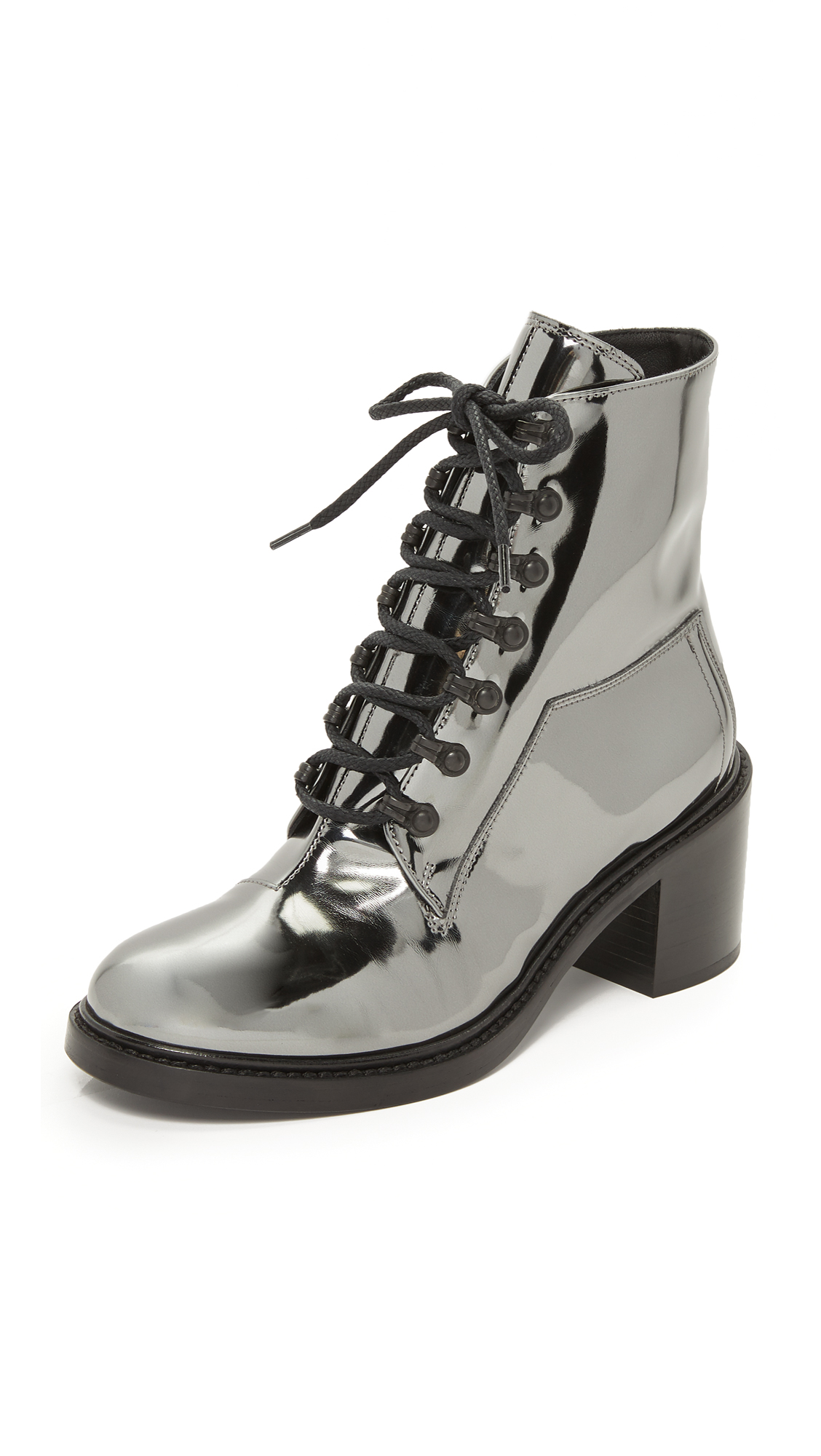 Mm6 Lace Up Booties - Steel