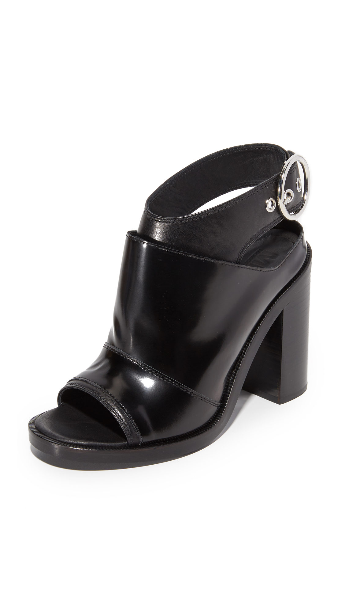 Mm6 Open Toe Booties - Black/Black