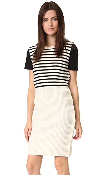 Mm6 Striped Sweater Dress - Calico/Black