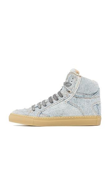MM6 Patchwork Denim High Top Sneakers