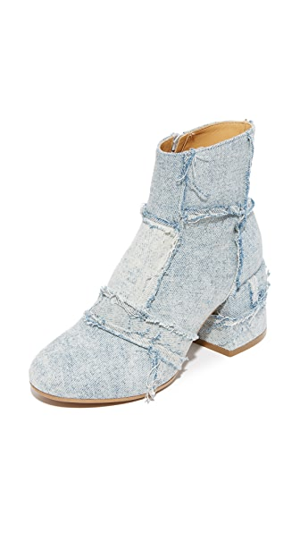 MM6 Patchwork Denim Booties - Super Vintage