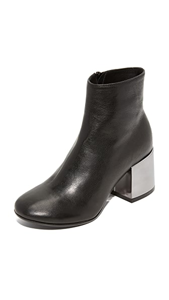 MM6 Metallic Heel Booties - Black