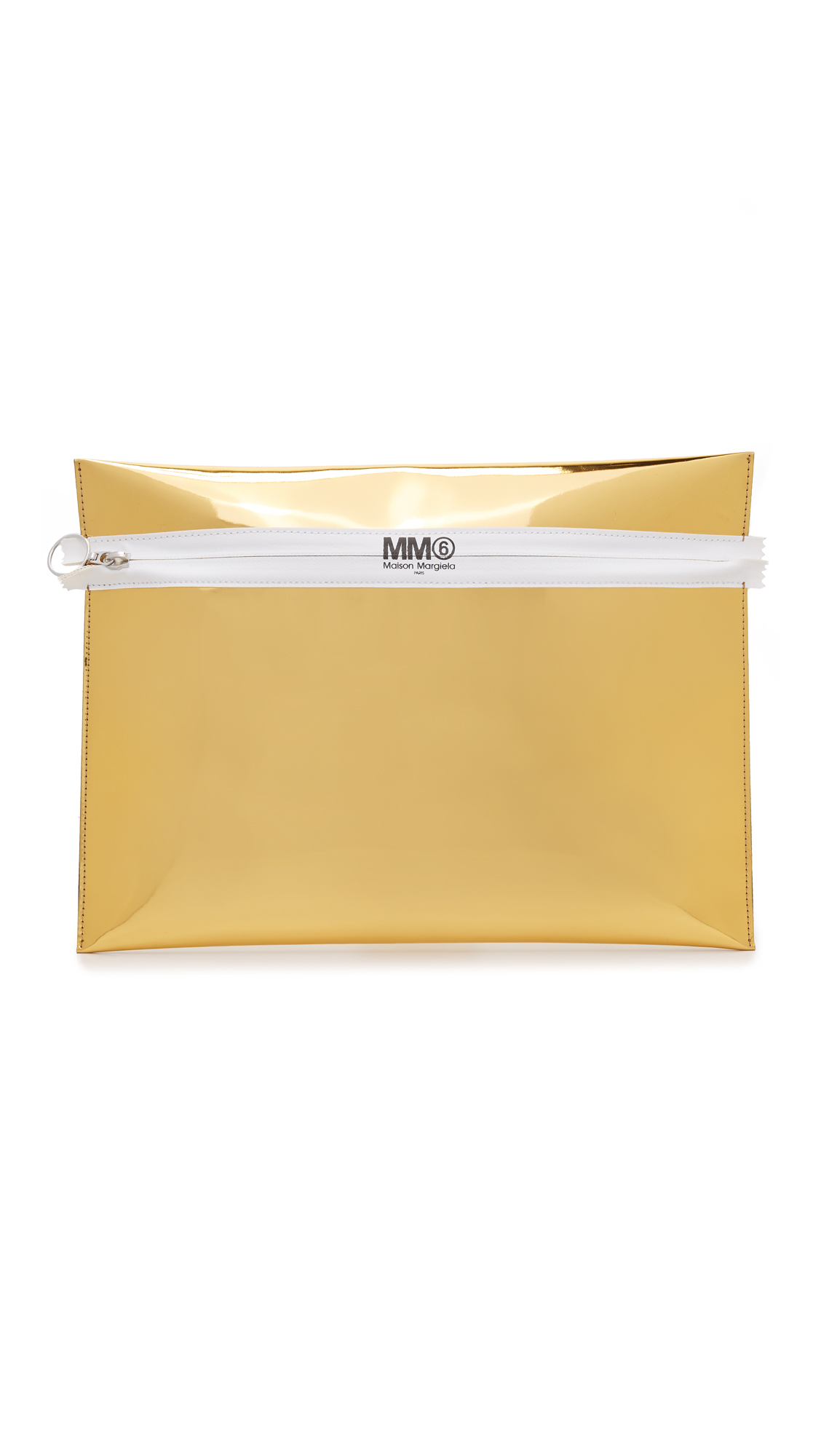 Mirrored faux leather brings a glamorous touch to this MM6 clutch. The coated front zip has a logo stamp, and opens to a lined interior. Fabric: Faux leather. Weight: 8oz / 0.23kg. Made in Italy. Measurements Height: 10.25
