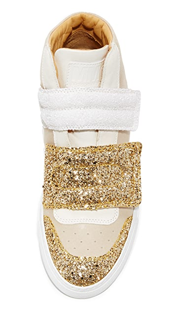 MM6 Velcro Glitter High Top Sneakers