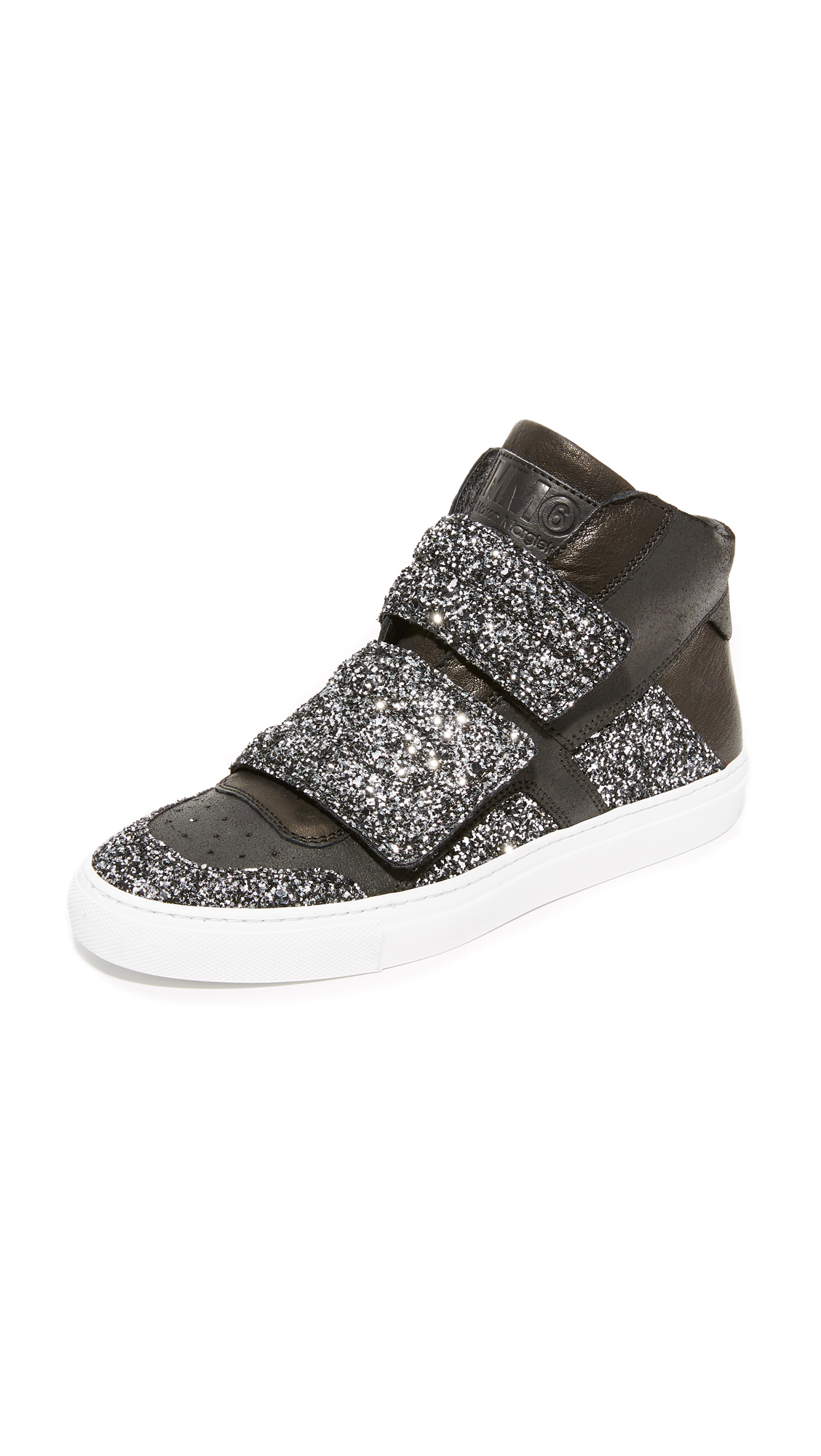 Photo of Mm6 Velcro Glitter High Top Sneakers Black-Silver-Black-Silver - MM6 online