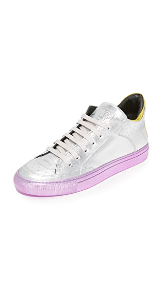MM6 Leather Lace Up Sneakers - Silver/Yellow