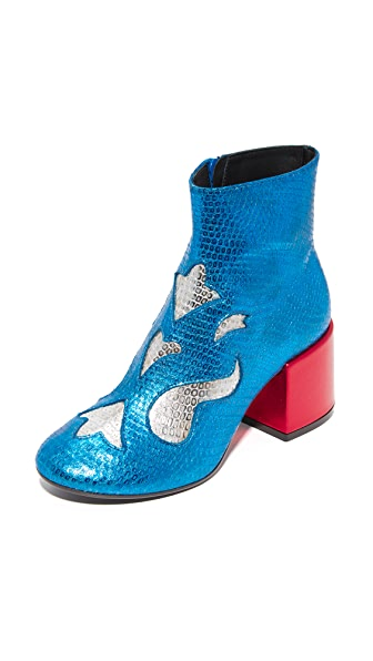 MM6 Viper Print Booties - Blue/Silver/Red