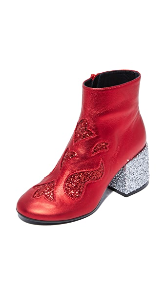 MM6 Glam Rock Flare Booties - Red/Red/Silver