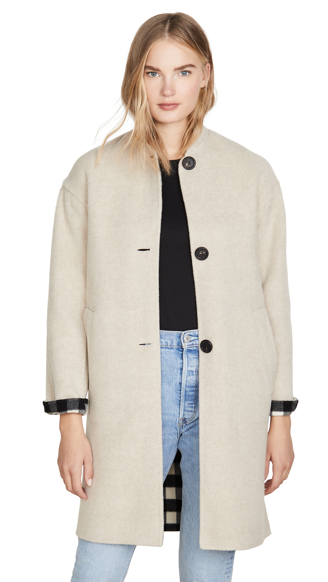 Mansur Gavriel Reversible Bicolor Wool Stand Collar Coat In Beige/checker