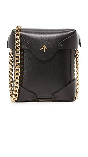 MANU Atelier Micro Pristine Box Bag with Gold Chain - Black