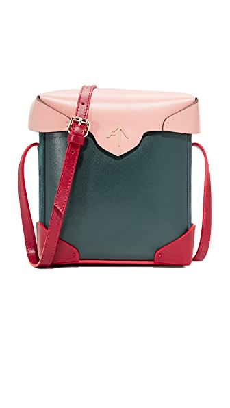MANU Atelier Mini Pristine Box Bag - Pavone/Red/Rose Pink