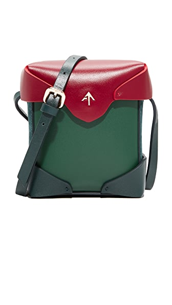 MANU Atelier Micro Pristine Box Bag - Emerald/Pavone/Red