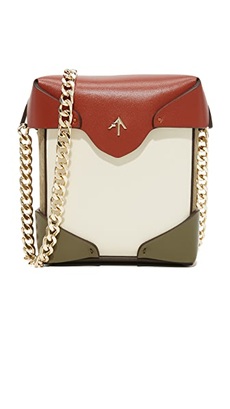 MANU Atelier Micro Pristine Chain Box Bag - Light Beige/Khaki/Redbole