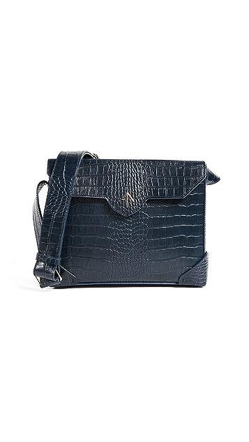 MANU Atelier Bold Croc Embossed Shoulder Bag