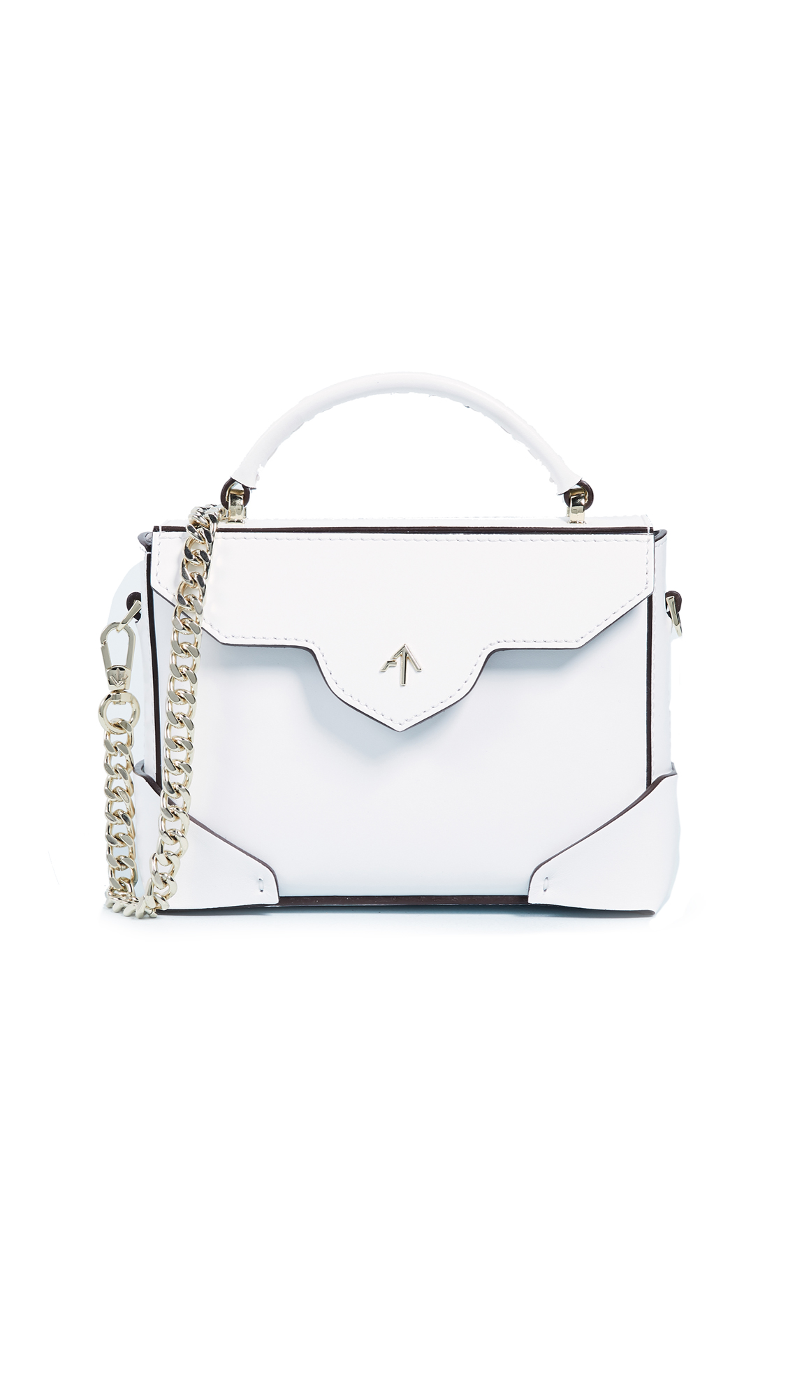 MICRO BOLD TOP HANDLE BAG WITH GOLD CHAIN