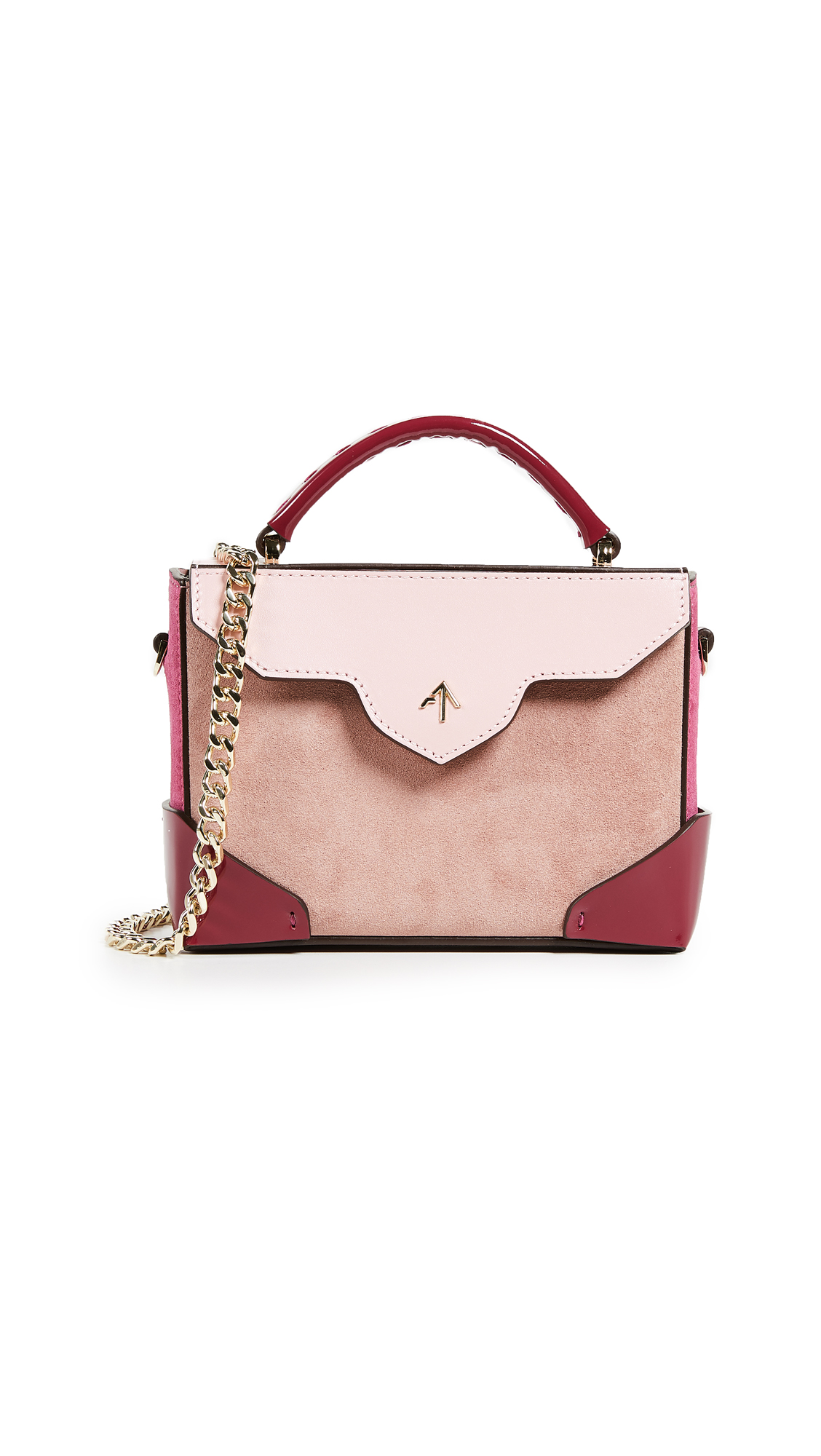 MICRO BOLD COMBO TOP HANDLE BAG WITH GOLD CHAIN