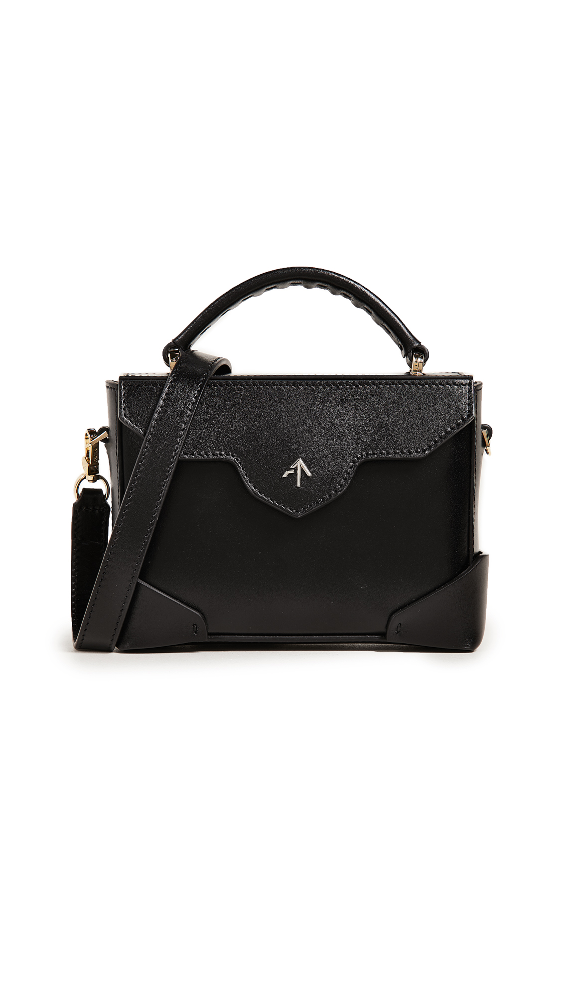 Micro Bold Leather Shoulder Bag With Chain Strap in Black