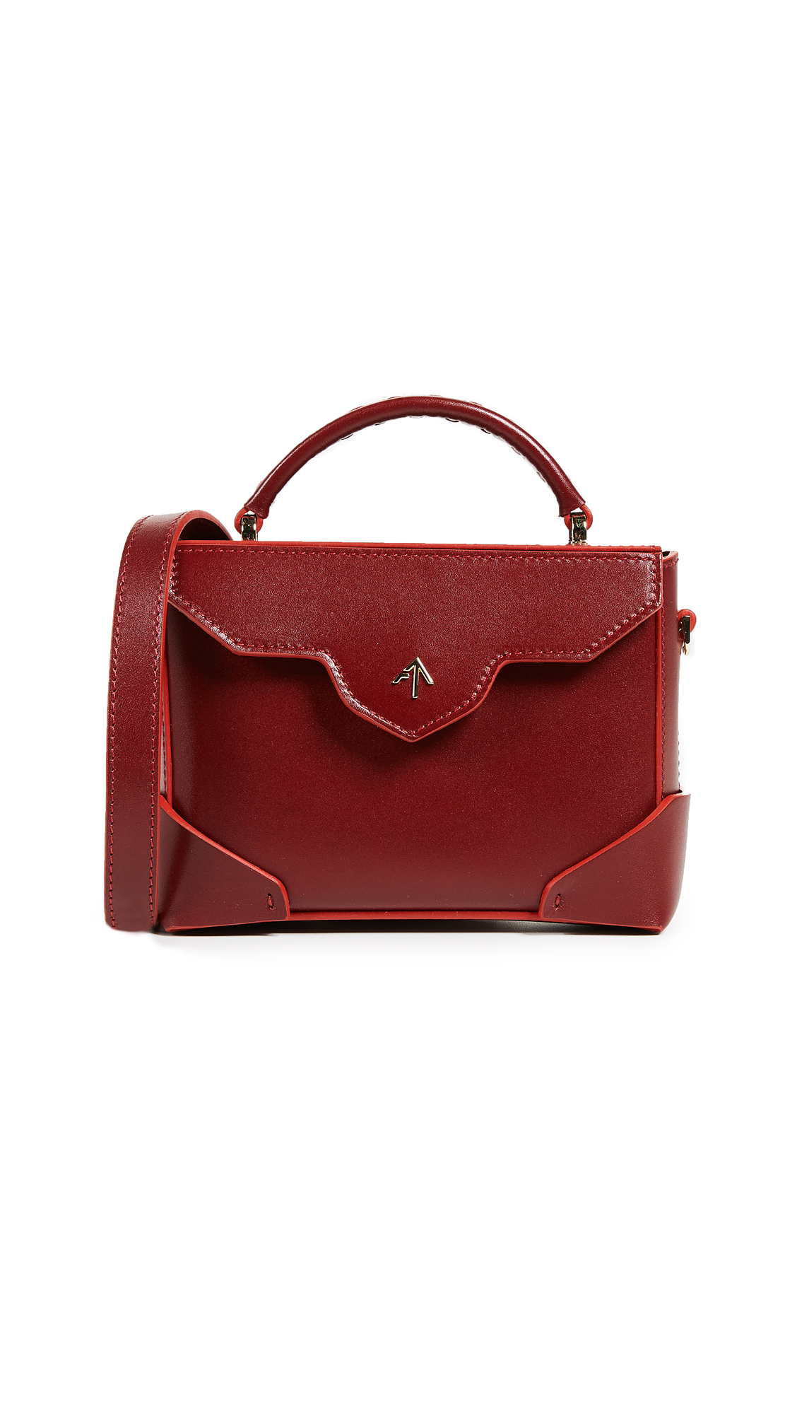 MICRO BOLD EMBOSSED LEATHER SHOULDER BAG WITH CHAIN STRAP