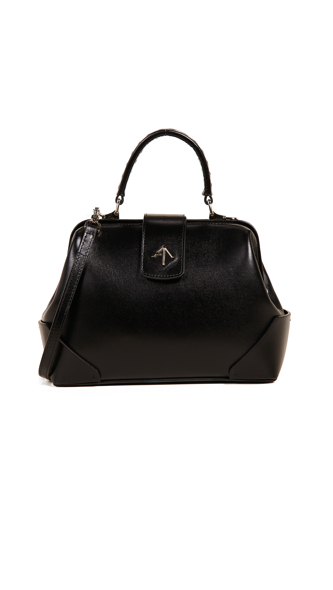 Frame Leather Shoulder Bag, Black