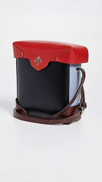 Mini Pristine Combo Box Bag in Black/Red/Ice Blue