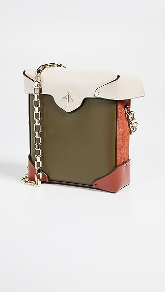 Mini Pristine Combo Chain Box Bag in Khaki/Light Beige/Redbole
