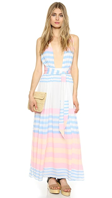 Mara Hoffman Field Stripe Crinkle Maxi Dress