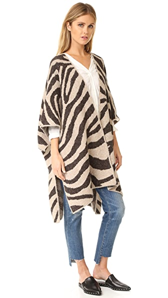 Mara Hoffman Zebra Sweater Cape - Cream Multi