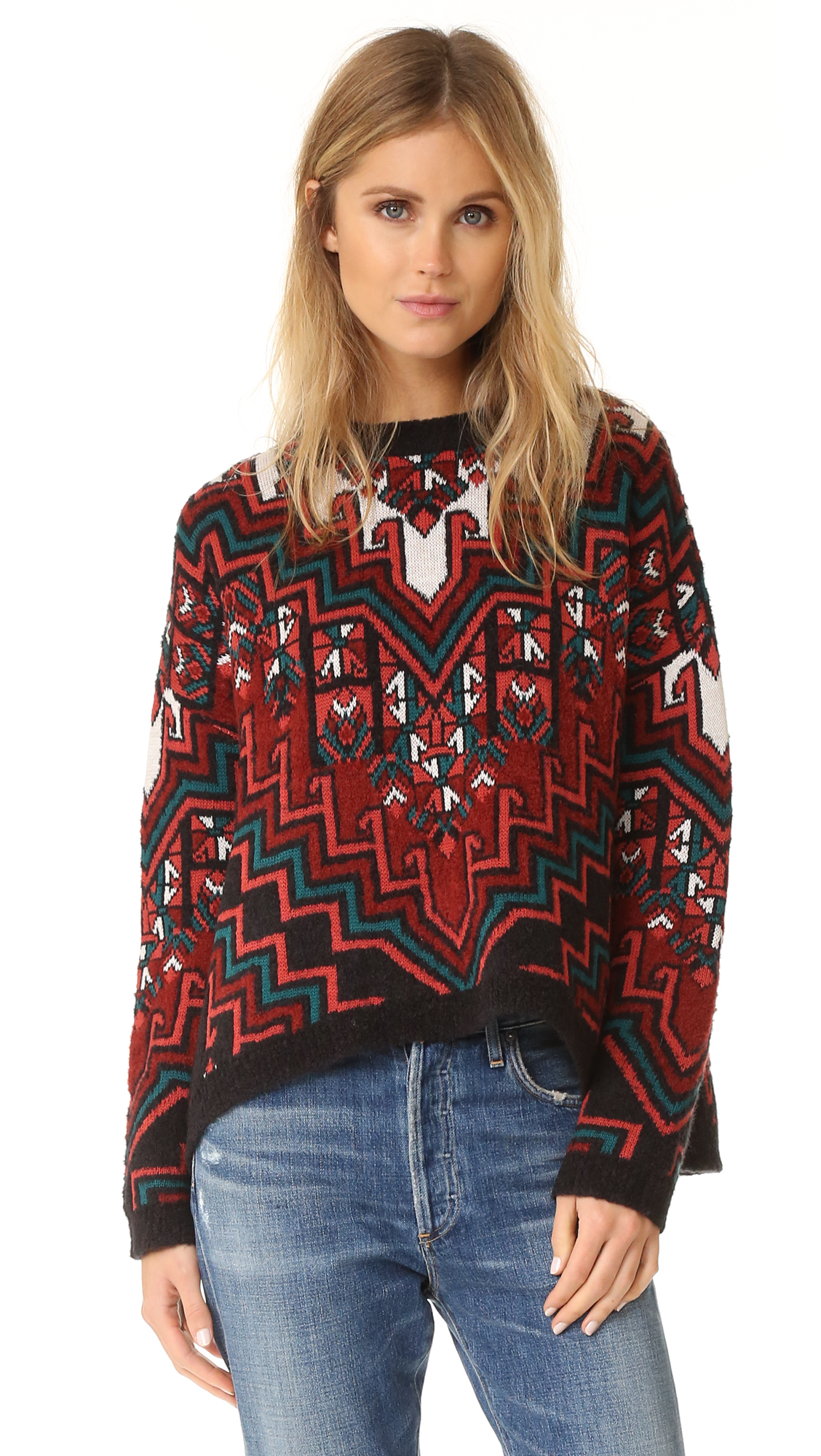 A lively design lends a bohemian feel to this oversized Mara Hoffman sweater. Dropped shoulder seams and long sleeves. Banded edges. Fabric: Knit. 36% polyester/30% acrylic/20% nylon/14% wool. Dry clean. Imported, China. Measurements Length: 20.75in / 53cm, from