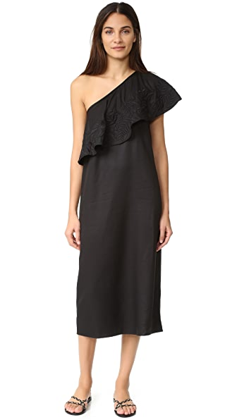 Mara Hoffman Embroidered One Shoulder Dress - Black