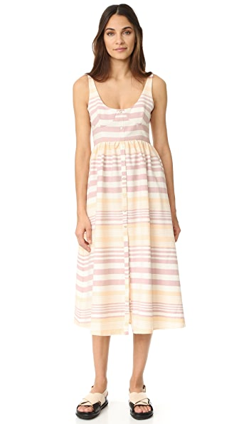 Mara Hoffman Button Front Midi Dress - Sand Stripe