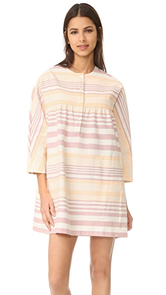 Mara Hoffman Button Front Mini Dress - Sand Stripe