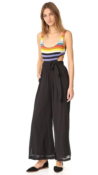Mara Hoffman Crochet Tank Jumpsuit - Crochet Rainbow Stripe