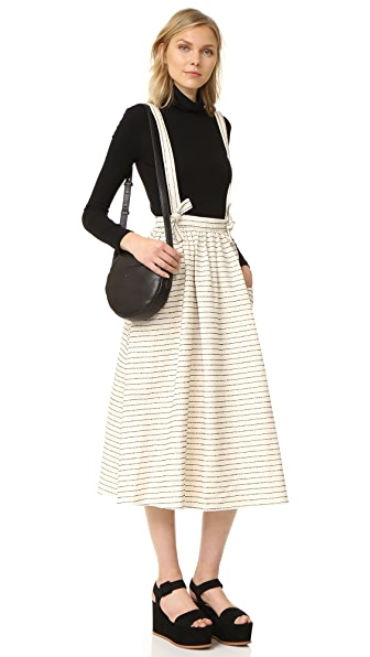 Mara Hoffman Full Skirt with Suspenders - Black/Cream Stripe