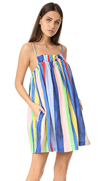 Mara Hoffman Gathered Mini Dress - Rainbow Watercolor Stripe