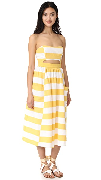 Mara Hoffman Cutout Midi Dress - Dovetail Stripe Yellow