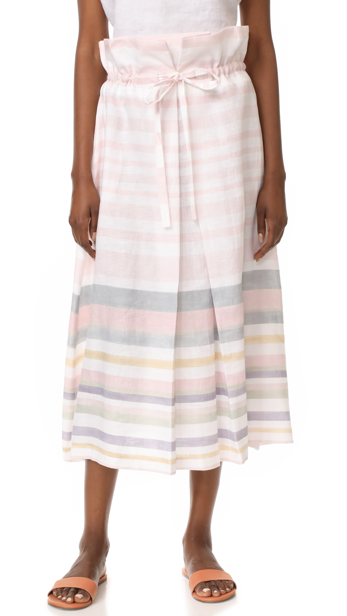 Mara Hoffman Paper Bag Midi Skirt - Pastel Stripe
