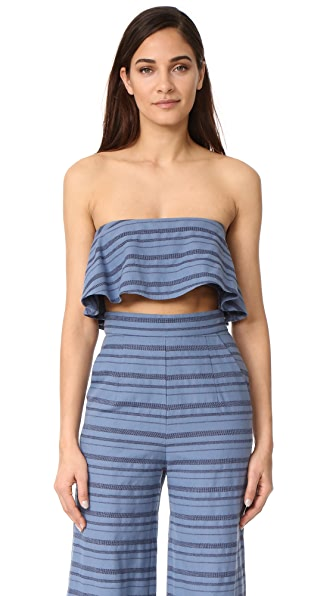 Mara Hoffman Strapless Crop Top - Denim Multi