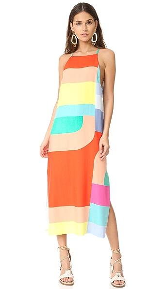 Mara Hoffman Side Slit Midi Dress In Red Multi