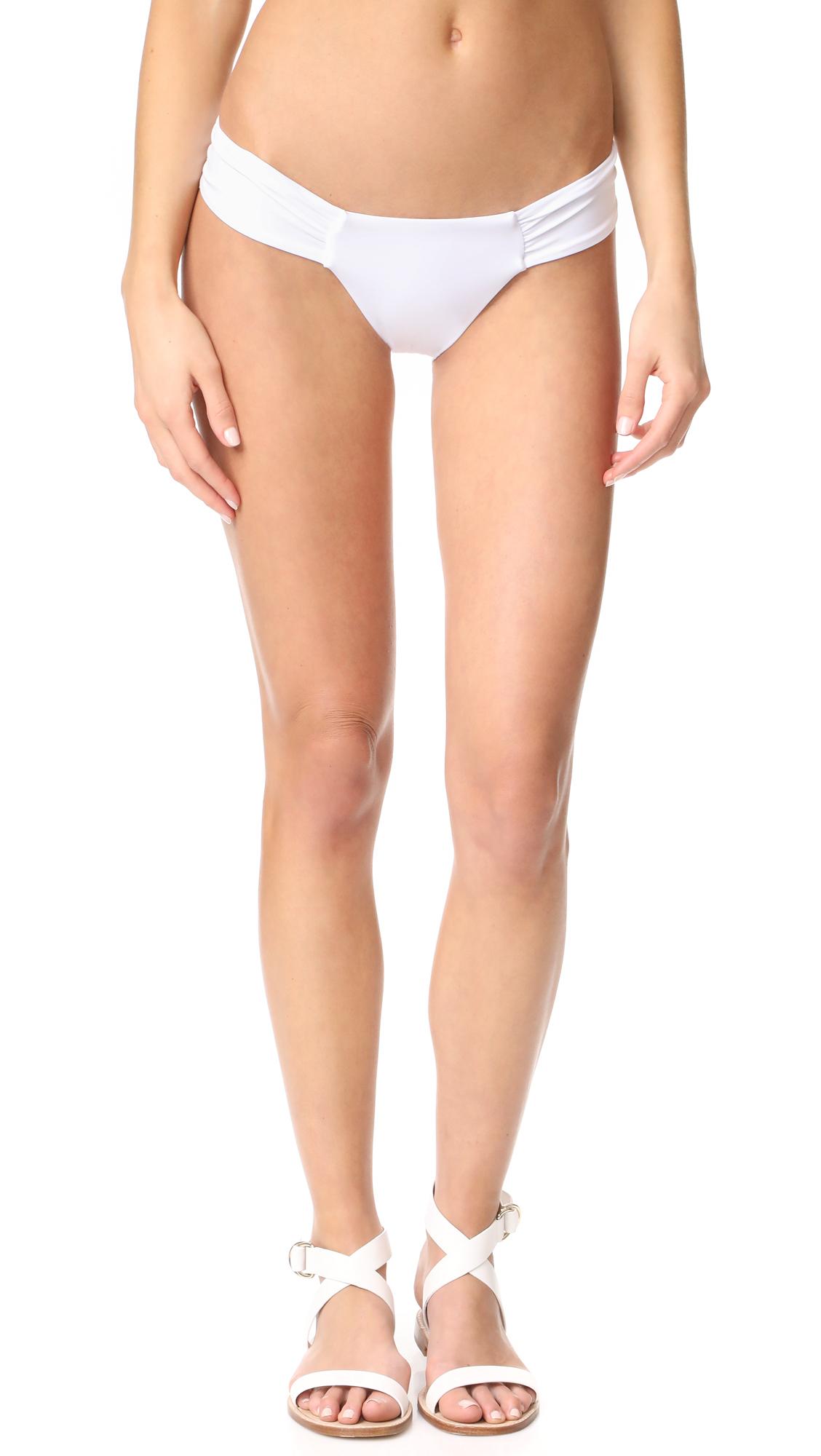 Mara Hoffman Side Ruched Bikini Bottoms - White