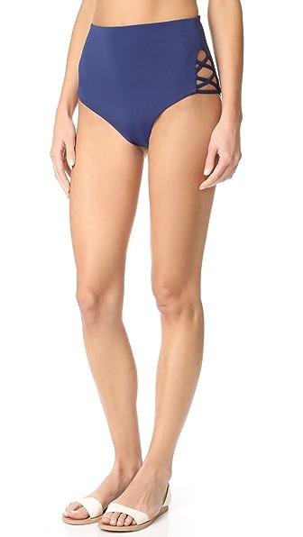 Mara Hoffman Lattice Side High Waist Bikini Bottoms - Indigo