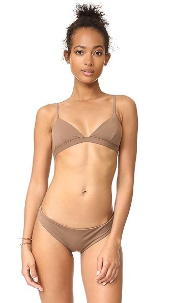 Mara Hoffman Triangle Bikini Top In Stone