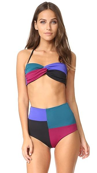 Mara Hoffman Chey Bandeau Bikini Top In Colorblock