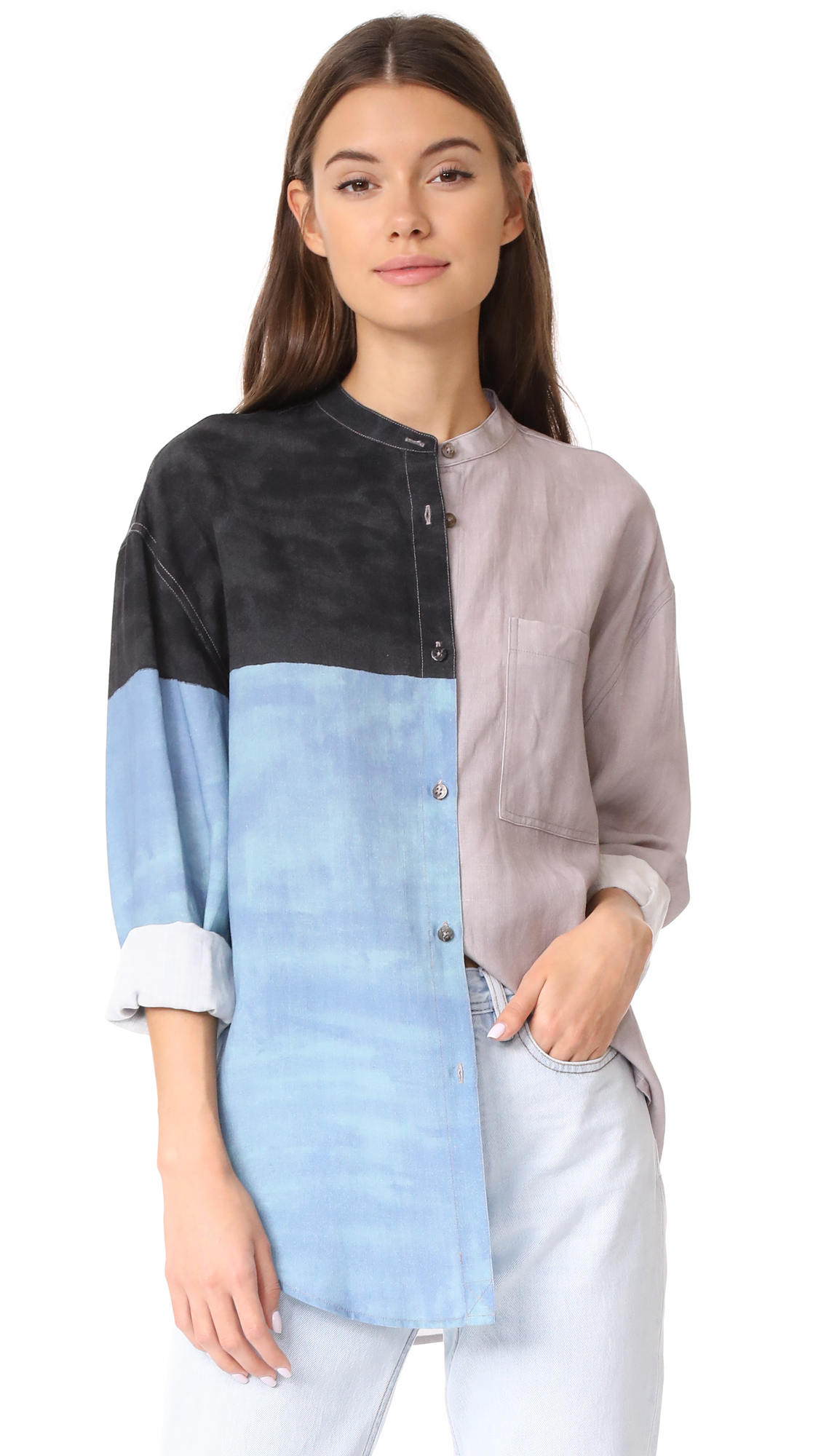 Mara Hoffman Zelda Button Down Shirt - Dune Multi