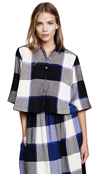 Mara Hoffman Louise Cropped Button Down In Royal Check