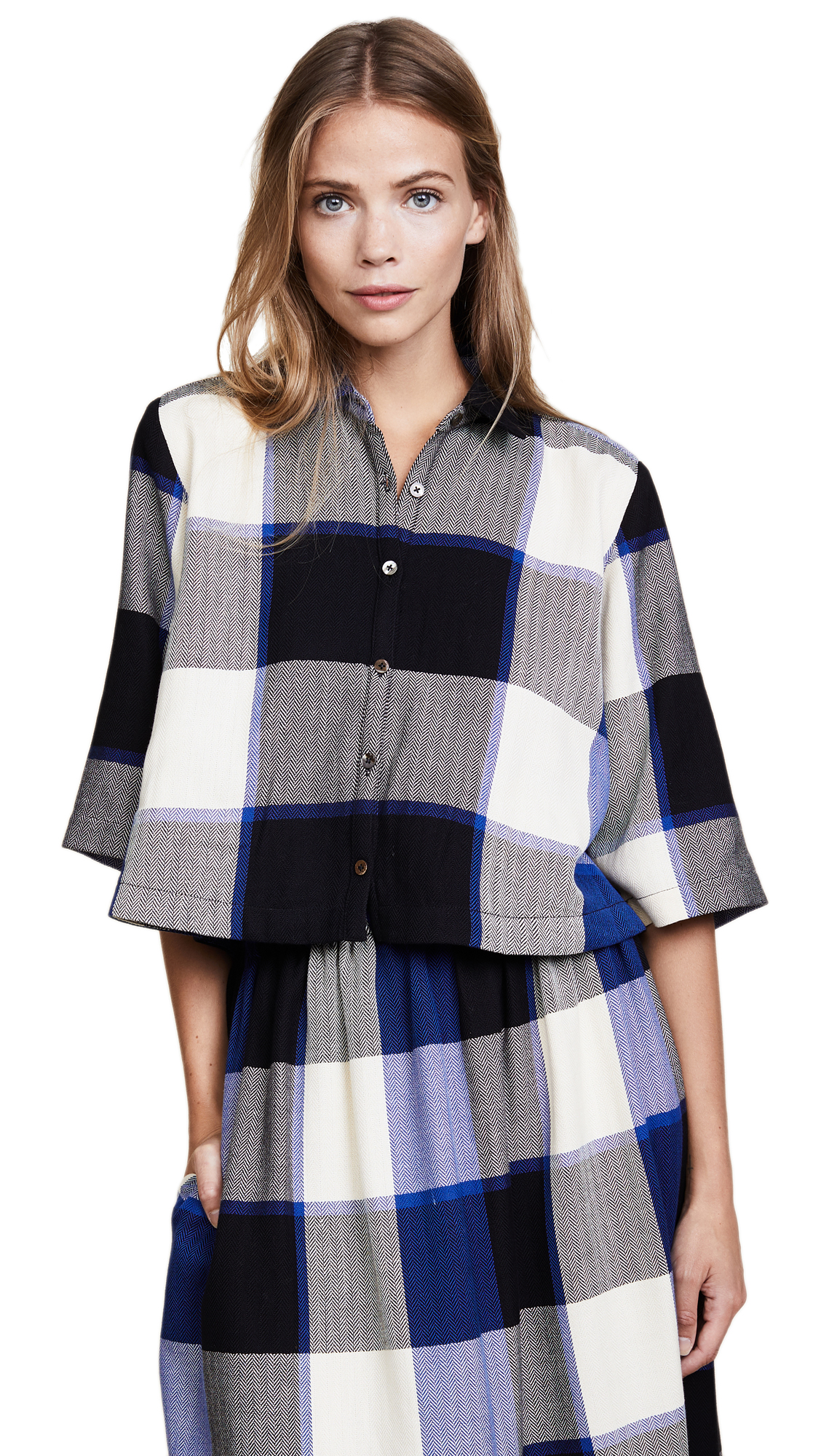 Mara Hoffman Louise Cropped Button Down - Royal Check
