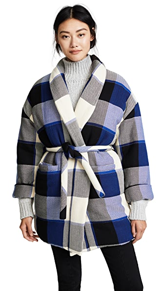 Mara Hoffman Willa Coat In Royal Check