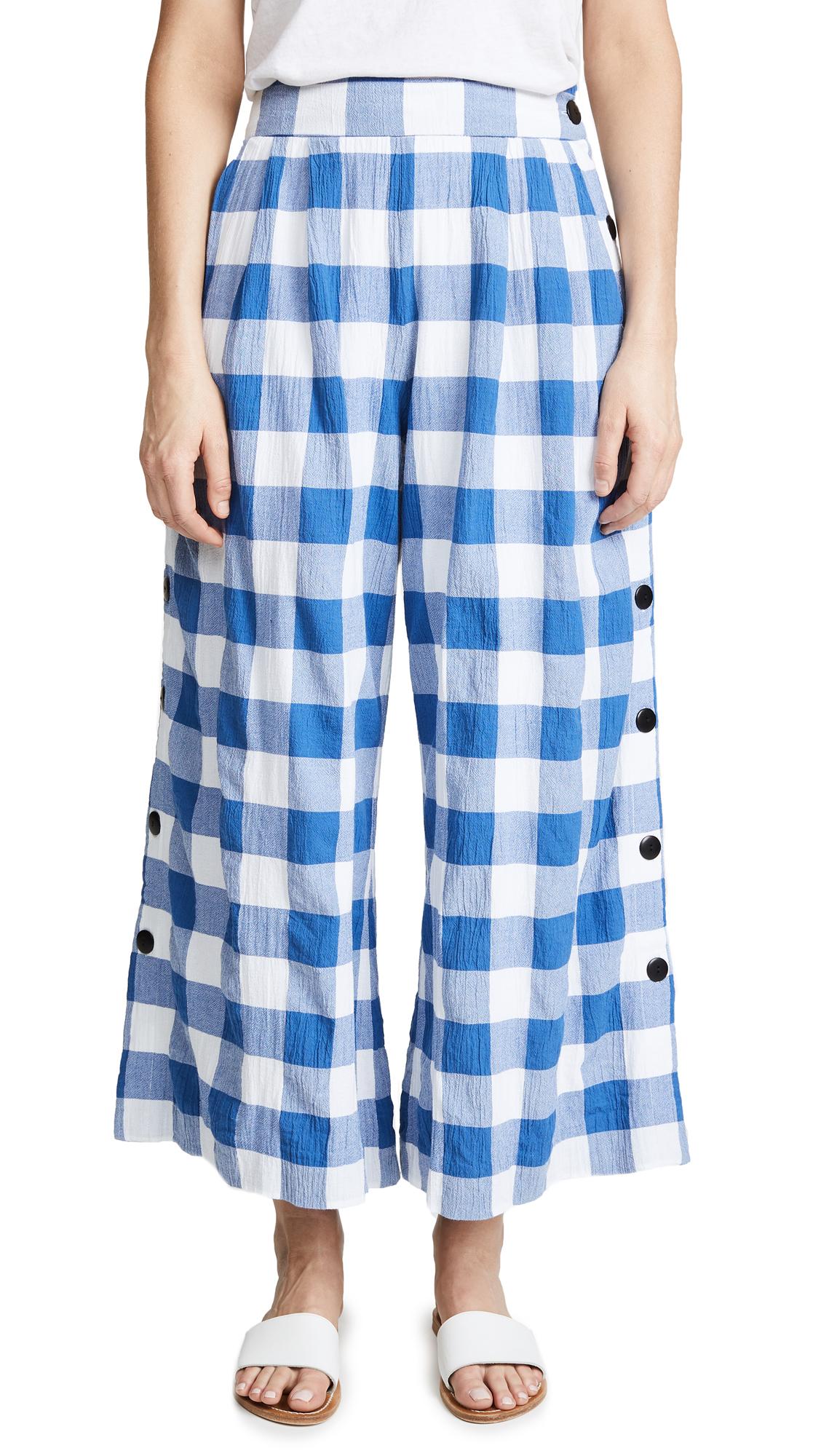 Mara Hoffman Angie Gingham Pants - White Blue