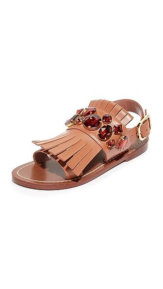 Marni Flat Sandals - Marron