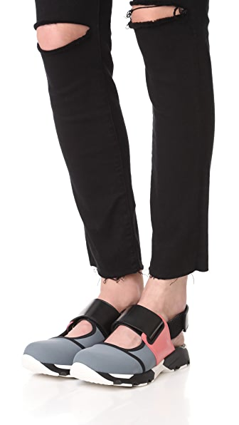 MARNI Sneaker Flats in Grey/Camellia/Black
